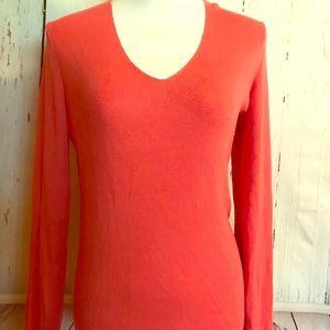 Banana Republic Silk Blend VNeck Coral Sweater